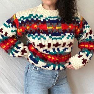 Vintage Hand Knit Wool Blend Technicolor Sweater